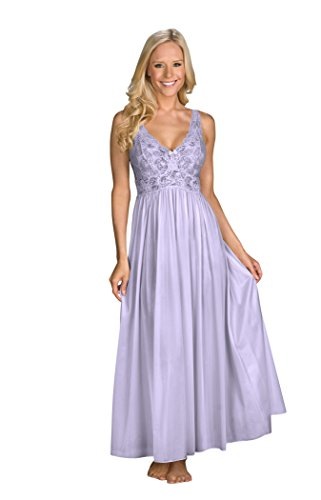 Shadowline Women's Silhouette 53 Inch Sleeveless Long Gown, Peri Frost, Medium (Bodice Satin Sleeveless)