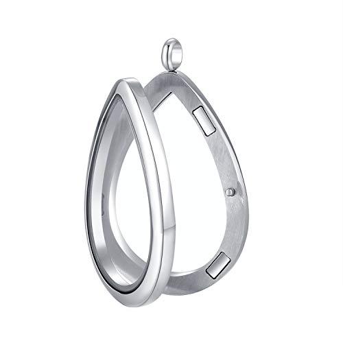 - Mesinya Living Memory Floating Locket 316L S.Steel Toughened Glass Locket Necklace W/Chain (Teardrop)