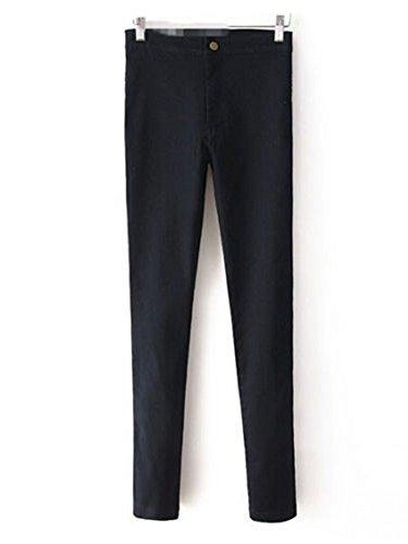 Fit Elásticos Lápiz Vaqueros Pantalon Del Cintura De Alta Pantalones Mujer Negro Skinny Cnv7xvB
