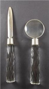 Magnifying Glass Letter Opener (Magnifying Glass & Letter Opener Set with Cut Glass Handles)