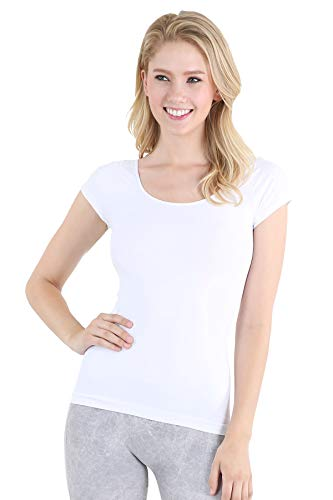 (NIKIBIKI Women Seamless Cap Sleeve Scoop Neck Fitted Top, One Size (White))