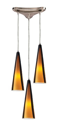 Elk 545-3SAH 3-Light Pendant In Satin Nickel and Sahara Glass