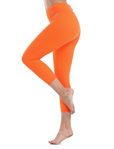 XTUPO High Waist Leggings Capri Soft Slim Yoga Pants Tummy Control Workout Leggings 4 Way Stretch Fabric Orange M