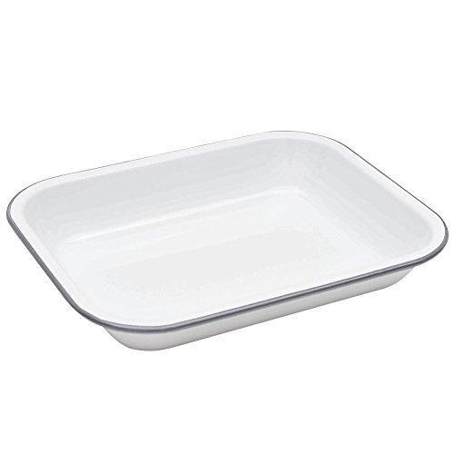Enamelware Small Roasting Pan - Solid White with Grey Rim by Crow Canyon Home
