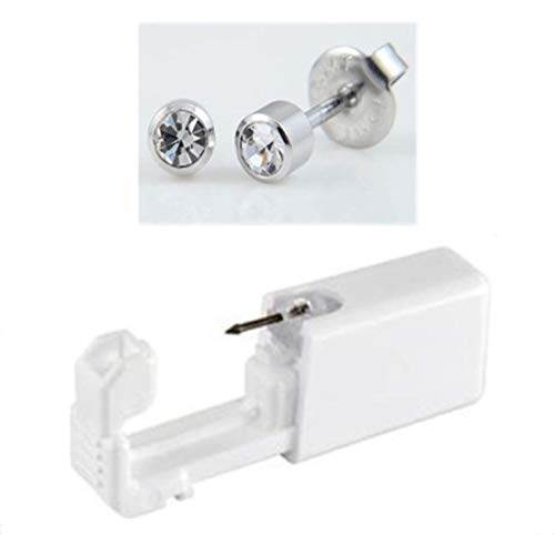 Ear Rings Studs with Piercing Gun Disposable Sterile Ear Nose Piercing Kit Tool Stud Safety Portable Ear Piercing Kit 1 unit (Silver White 2mm)