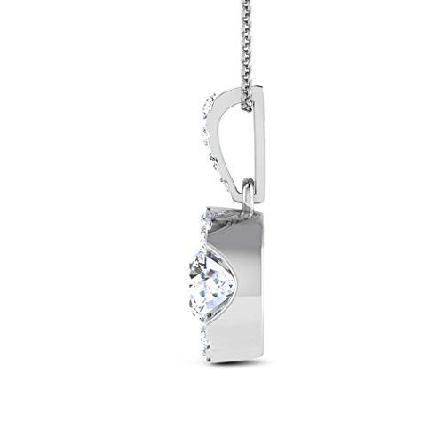 18K Or Blanc 0.5CT TW Round-cut-diamond (IJ | SI) Pendentif