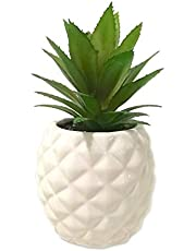 """White Porcelain Pineapple Ananas Faux Plant Potted Artificial Succulent 7.8"""" Home Office Bathroom Tabletop Shelf Kitchen Decoration"""