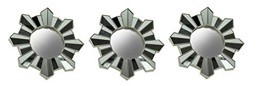 Three Hands Corp. Set of 3 Sun Ray Geometric Mosaic Wall Mirrors