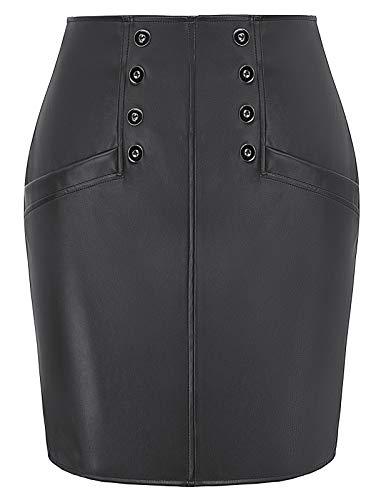 Women's Faux Leather Short Mini Skirt Night Club Skirts, Black M ()