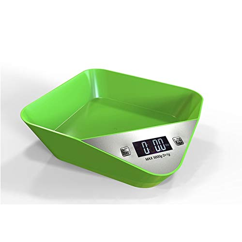 LCD 5000g   1g Built-in Bowl Electronic Scale Food Diet Kitchen Digital Scale Postal Scales Cooking Tools Kitchen Scales Balance Green, 1g