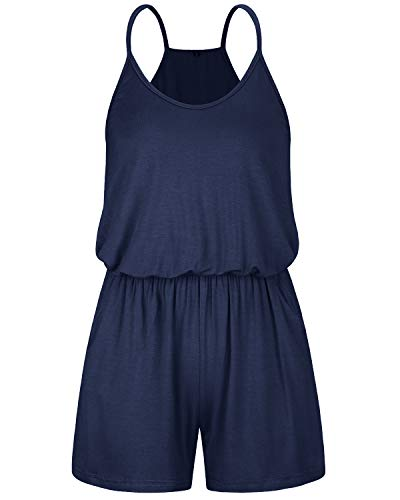 OUGES Women's Summer Casual Spaghetti Strap Racer Back Short Jumpsuits Rompers(Navy,L) ()