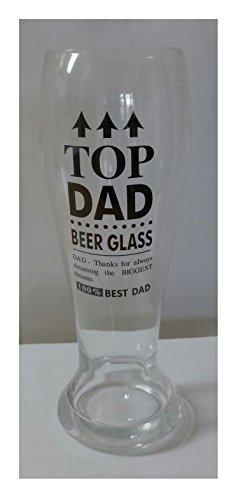 Poker Pilsner Glass - Top Dad Engraved 16 Ounce Men's Pilsner Beer Glass