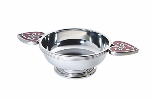 Wentworth Pewter - Heart The Highlands Pewter Quaich Whisky Tasting Bowl Loving Cup Burns Night Red ()