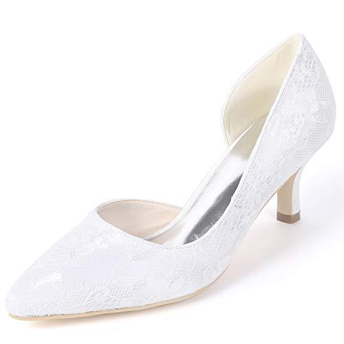 Seda Primavera Encaje 6cm Boda L De yc Plataforma Fornido Zapatos Tacones Mujer White Fy160 Altos Nupcial Hq7vn1Uq