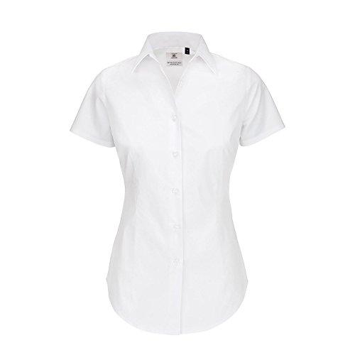 B&C- Camisa de manga corta Black tie para mujer Blanco