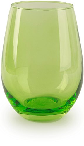 Circleware 44681 Calabria Stemless Wine Glasses, Set of 4 Drinking Glassware for Water, Juice, Beer, Liquor and Best Selling Kitchen & Home Decor Bar Dining Beverage Gifts, 18.5 oz, Lime Green]()