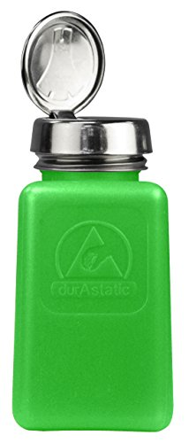Touch One Menda Pump - Menda 35273 One Touch Liquid Dispenser Pump Bottle, ESD Safe, 6 oz. Dissipative, HDPE/Stainless Steel, Green