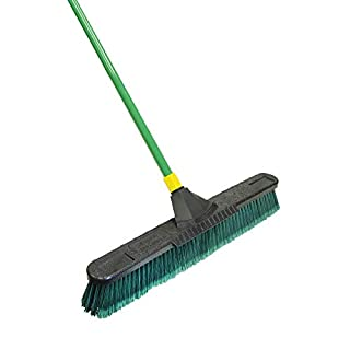 Quickie Bulldozer 24-Inch Multi-Surface Push Broom, Size: 60 Wood Handle with Swivel Hang-up Feature. 15/16-inch Diameter Handle, Green - with Scraper