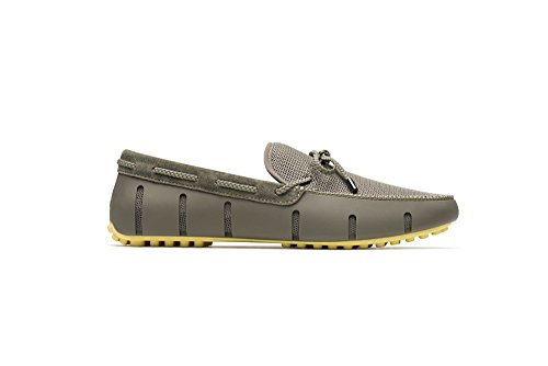 SWIMS Braided Lace Loafer Driver DT In Khaki/Lemon, Size 11 by SWIMS