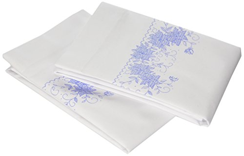 Janlynn 65-32083 Blue Floral Pillowcase Pair Stamped Cross Stitch-20 X30