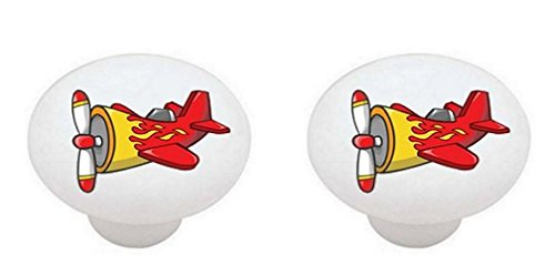 Knob Plane Drawer (SET OF 2 KNOBS - Airplanes Airplane #13848 Cool Red Plane with Yellow Flames - DECORATIVE Glossy CERAMIC Cabinet PULLS Dresser Drawer KNOBS)