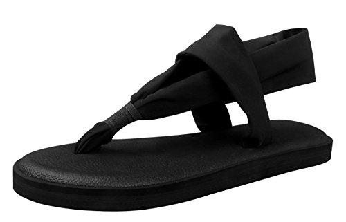 Santiro Zehentrenner Damen Yoga Matte Sohle Sandalen Flach und Leichtgewicht Sandaletten, Schwarz SSD001B1-40