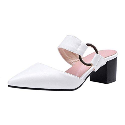 Vitalo Women's Mid Block Heel Buckle Mules Open Back Pointed Toe Sandals White ZHRvzPYT