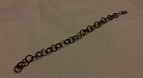 Steampunk tri color metal link bracelet. Silver copper and brass link bracelet. (Tri Color Love Bracelet)