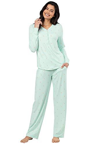 (Addison Meadow Pajama Set for Women - Cute Pajamas for Women, Aqua, M, 10-12)