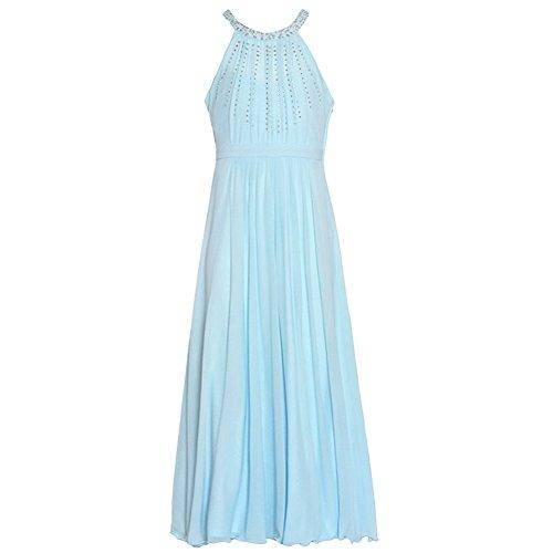 [Tween Diva Big Girls Blue Studded Accents Yoke Neck Christmas Dress 10] (Christmas Dresses For Tweens)