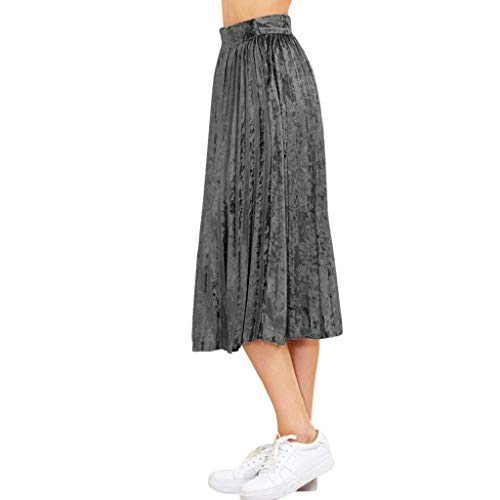 Creazrise Women's Metallic Shiny Accordion Velvet Pleated Long Maxi Party Skirt (Coffee) -