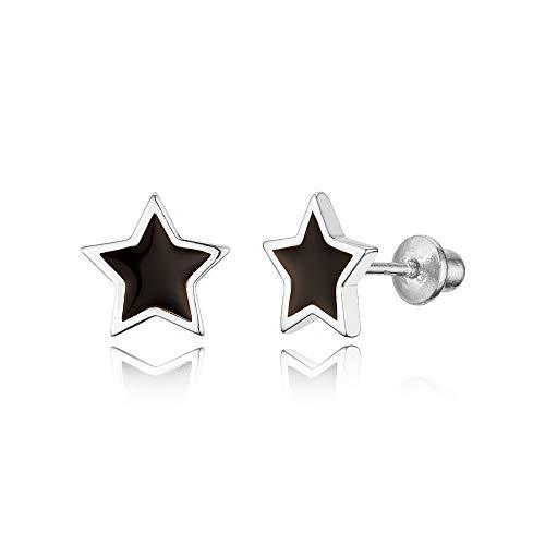 925 Sterling Silver Rhodium Plated Enamel Black Star Screwback Baby Girls Earrings