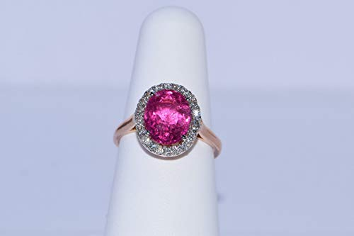 (14k Rose Gold Rubellite Tourmaline and Diamond Ring)