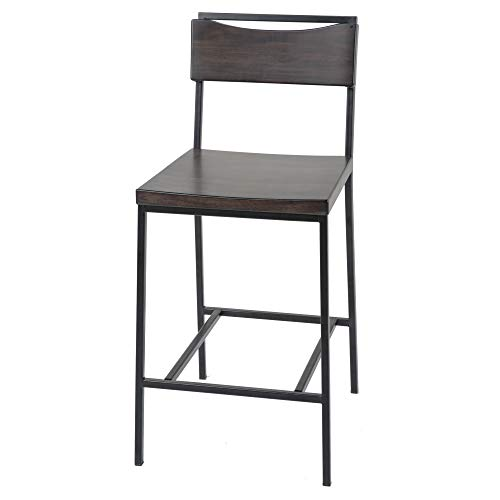 Fashion Bed Group Columbus Bar Stool with Black Matte Finished Metal Frame, Footrest and Black Cherry Colored Wood Seat, 30-Inch Seat Height ()
