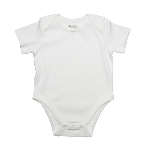 Funkoos White Short Sleeve Organic Baby Bodysuit for Newborn Baby Infant Boy and Girl