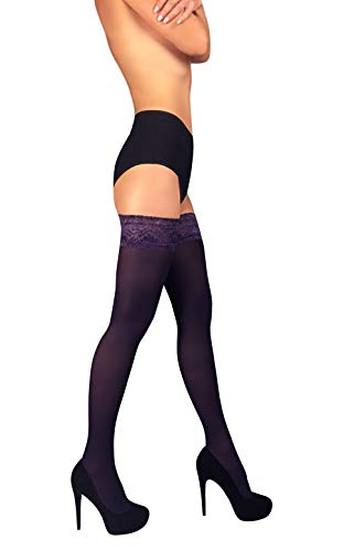 de656000b88 THIGH HIGH Opaque Lace Top Silicone Stockings Nylon Hosiery 40 Den S - XL