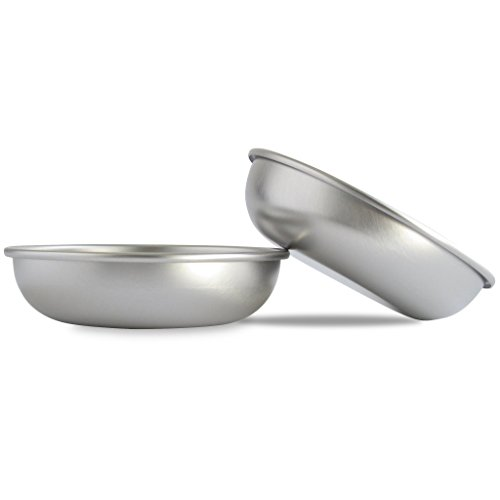 (Basis Pet Made in the USA Low Profile Stainless Steel Cat Dish, 2 Pack)