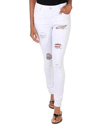 Mujer Pantones Vaqueros Pitillo Blancos Desgarrados y Encaje Diseño