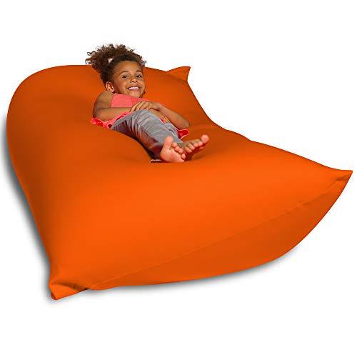 Big Squishy Portable and Stylish Bean Bag Chair, Medium, Orange