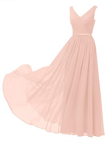 Alicepub V-Neck Chiffon Blush Bridesmaid Dress Long Party Prom Evening Dress Sleeveless, Pearl Pink, US12