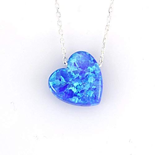 Women's Mini Dark Blue Created Opal Heart Pendant Necklace with Sterling Silver Chain 16+1 inches