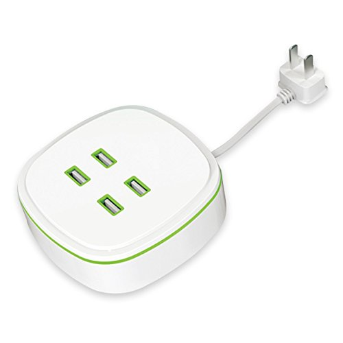 4.2A Multi USB Quick Charger, Winwin 4-Port USB Wall Charger with Perfect Storage Design and Intelligent Protection ( White)