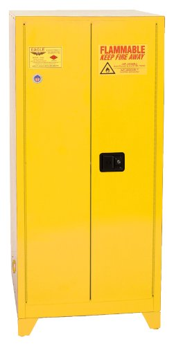 """Eagle YPI-62LEGS Safety Cabinet for Paint & Ink, 2 Door Manual Close, 96 gallon, 69""""Height, 31-1/4""""Width, 31-1/4""""Depth, Steel, Yellow"""