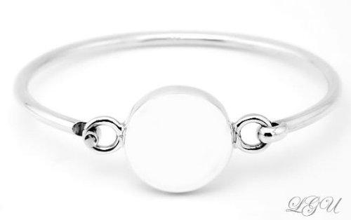 Argent sterling poli gravable rond Puff Bracelet pour adulte