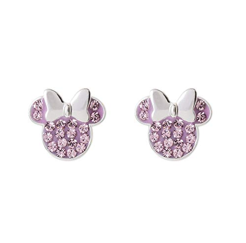 Gold Jewelry Mouse Mickey - Disney Minnie Mouse Birthstone Jewelry for Women, Sterling Silver Pave Crystal Stud Earrings (More Colors Available) Mickey's 90th Anniversary, June