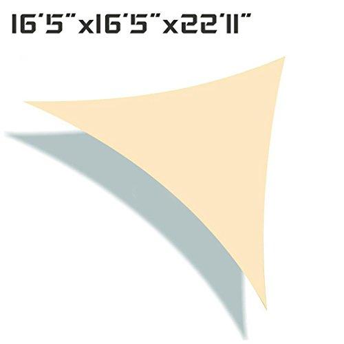 Unicool Deluxe Right Triangle 16'5' x 16'5' x 22'11' Sun Shade Sail Canopy UV Block Outdoor Patio Top Cover Cream/Beige