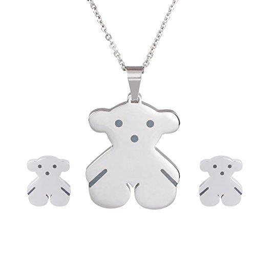 Steel Bear Stainless (URs Silver Stainless Steel Wemen's Teddy Bear Necklace Pendant and Stud Earrings)