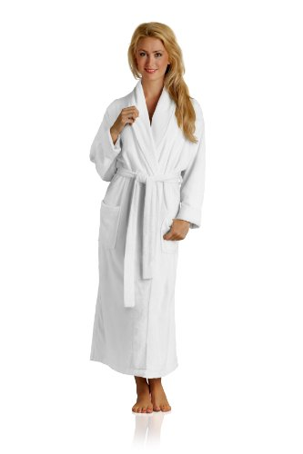 Pure Bliss Terry Robe - Super Absorbent and Soft - Cotton and Rayon from Bamboo in White, X-Small
