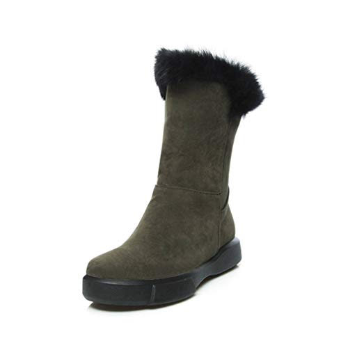 JOYBI Women Winter Snow Boot Fur Lined Non Slip Comfortable Faux Suede Fashion Round Toe Mid Calf Boots