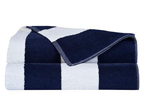 Navy Cabana Stripe - Glamburg 2-Pack Cabana Stripe Beach Towels 100% Ringspun Cotton 30